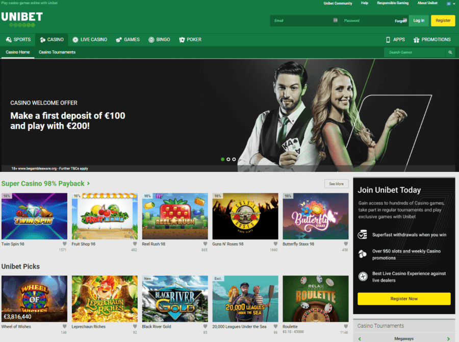 Game section Unibet Casino